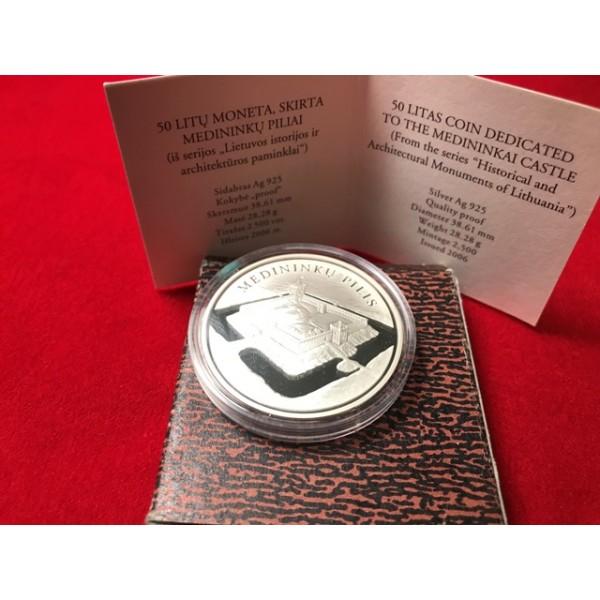 """50 litų moneta, skirta Medininkų piliai (iš serijos """"Lietuvos istorijos ir architektūros paminklai"""")"""