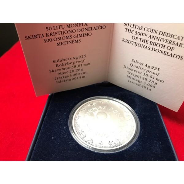 50 Lt moneta, skirta Kristijono Donelaičio 300-osioms gimimo metinėms