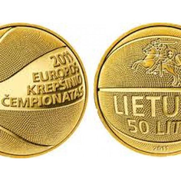 50 litų moneta, skirta krepšiniui